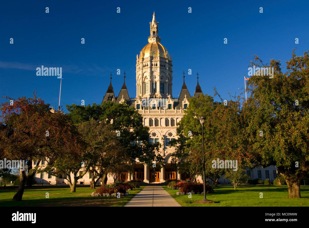 Connecticut State Capitol, Bushnell Park, Hartford, Connecticut - Stock Image