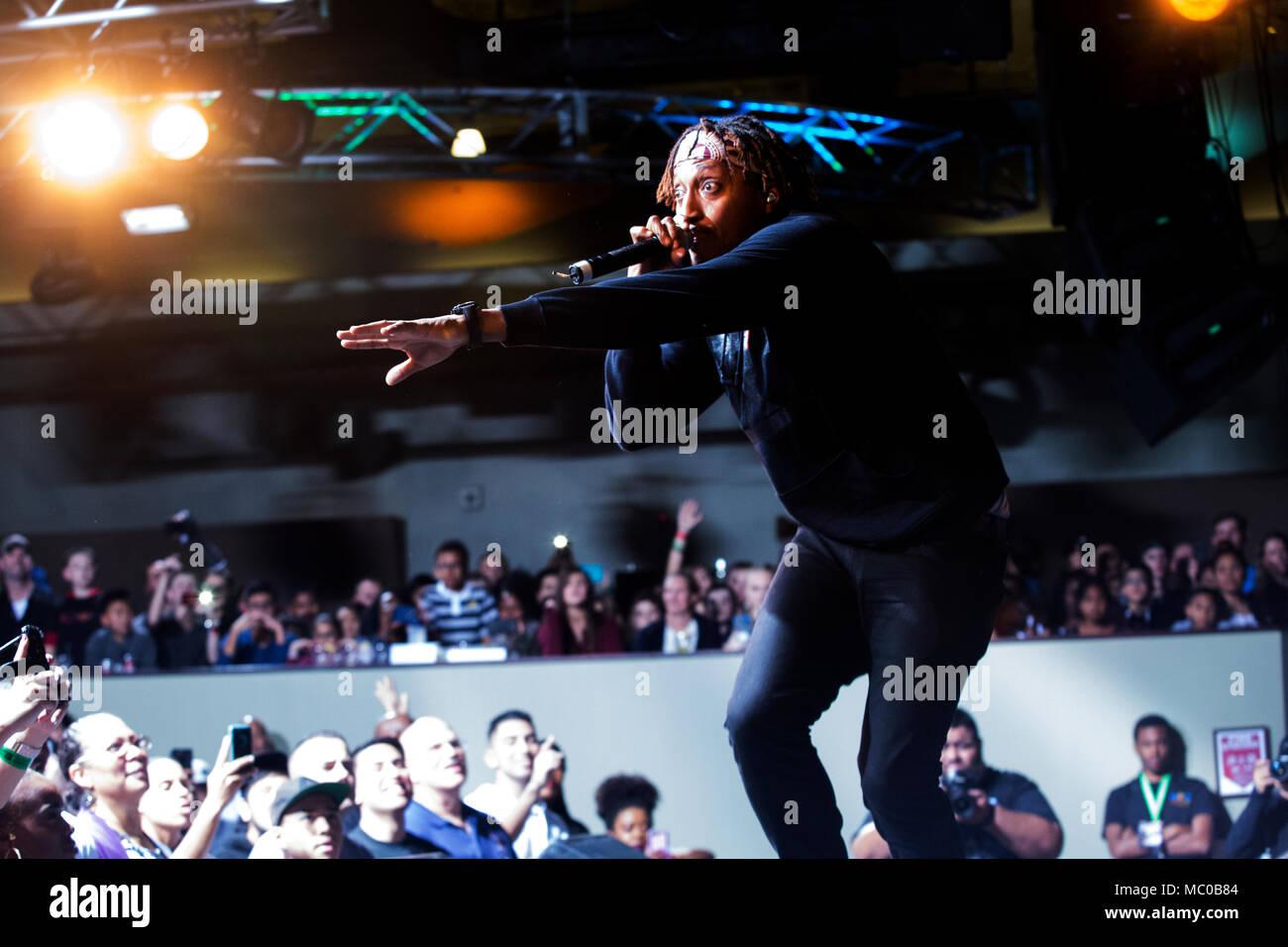 Grammy award winning hip-hop artist Lecrae performs for