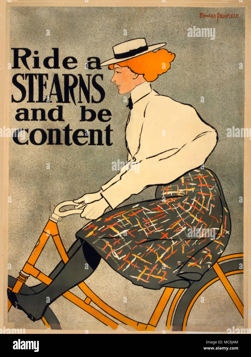 Poster advertising Stearns bicycles, showing a woman cyclist, circa 1896 - Stock Image
