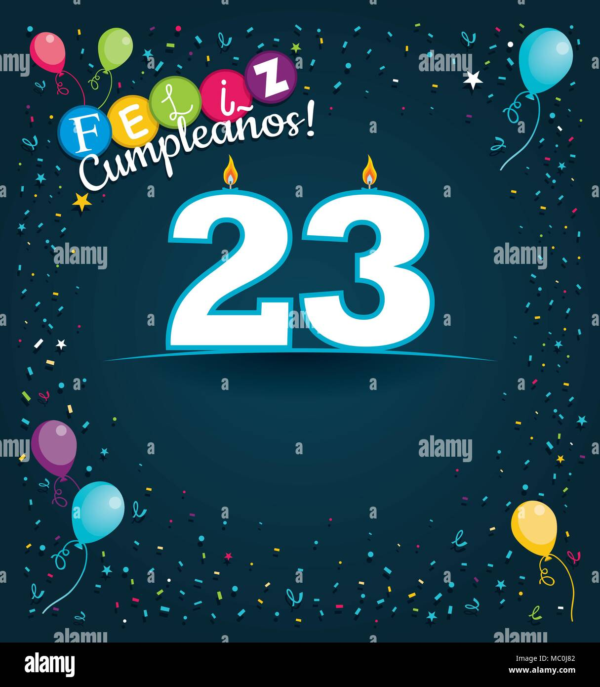 Happy Birthday 23 in Spanish language - Greeting card with white candles in the form of number with background of balloons and confetti - Stock Vector