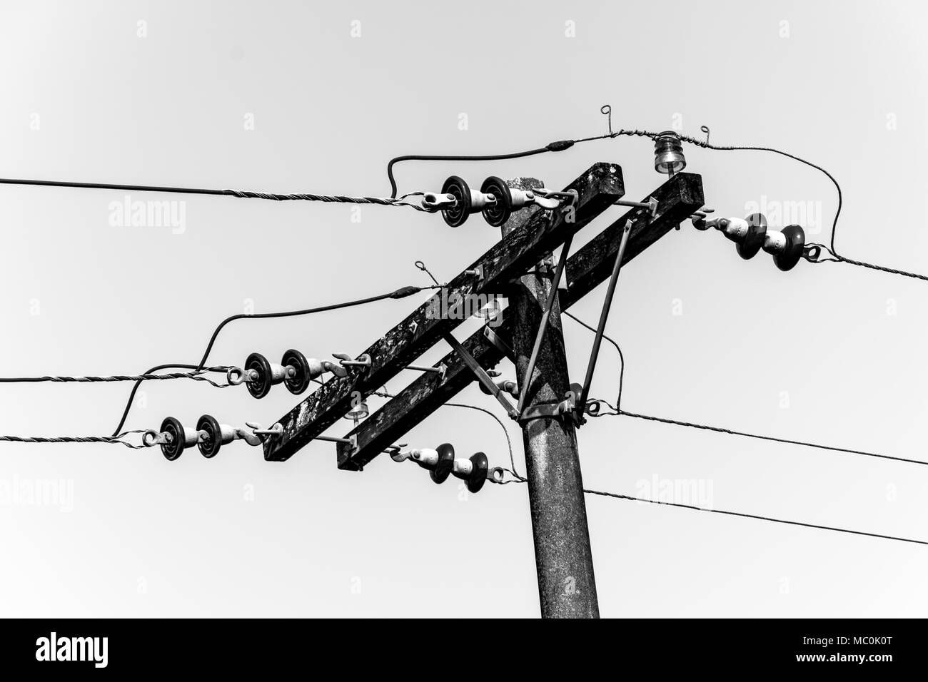 isolated black and white electric pole and wires Stock Photo ...