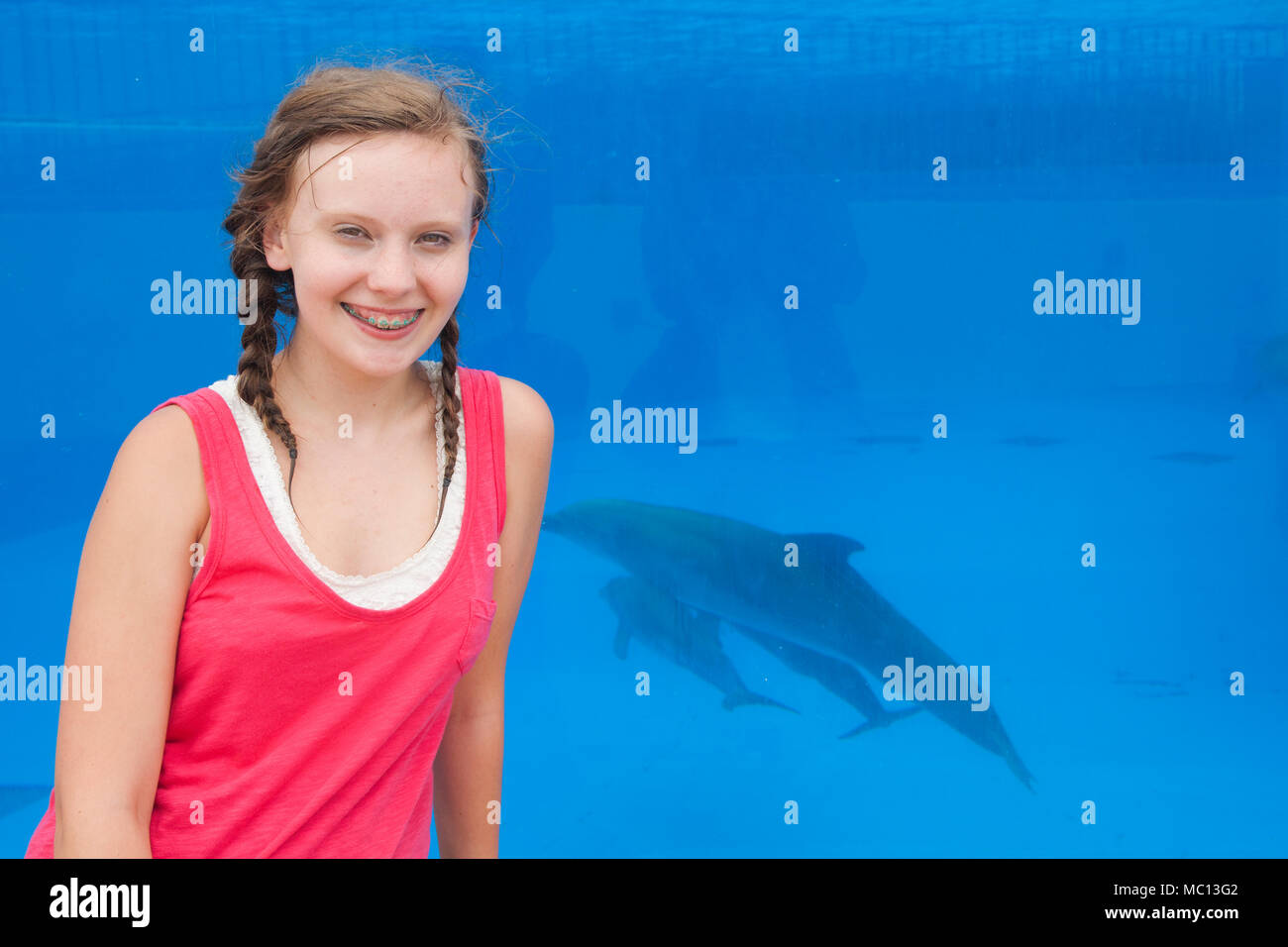 Teenage Caucasian girl in orthodontic braces and braided dark blond hair wearing a sleeveless pink shirt smiles in front of a tank with dolphins swimm - Stock Image