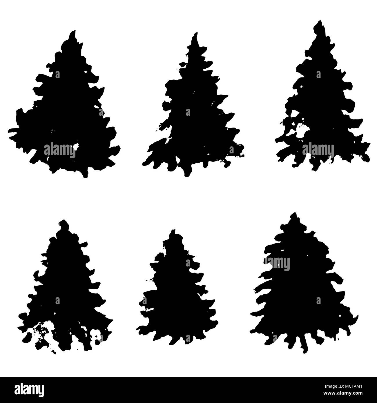 Set of fir tree silhouettes. Black grunge Christmas trees. Watercolor spruces isolated on white background. Vector illustration. - Stock Vector