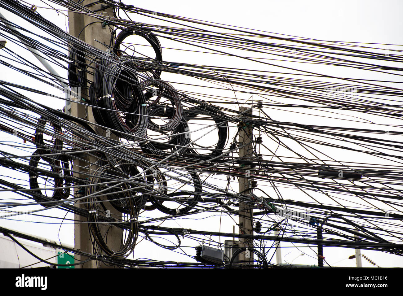 Pleasant Many Wires Messy With Power Line Cables Transformers And Phone Wiring Digital Resources Antuskbiperorg