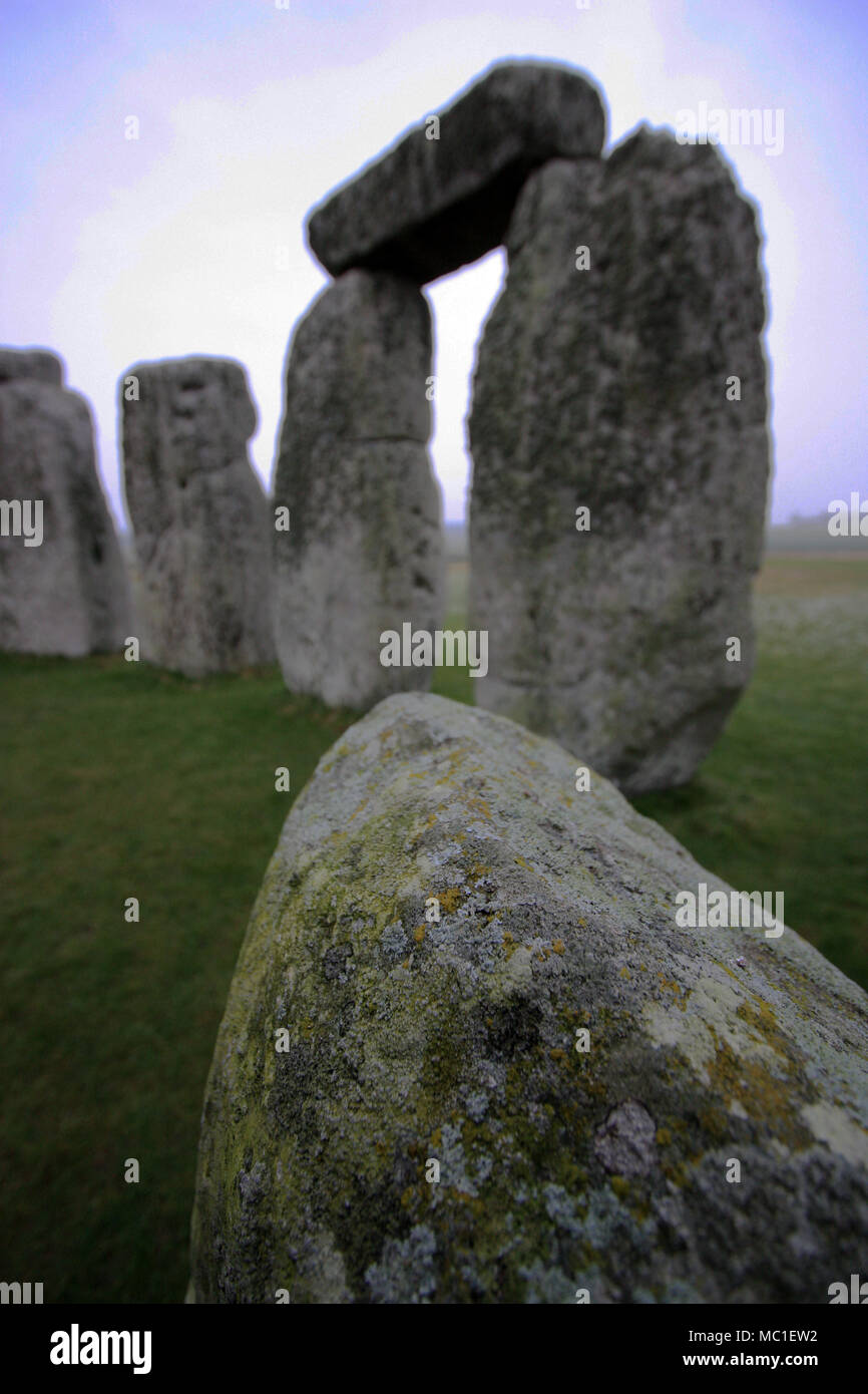 UNESCO World Heritage: Stonehenge Megalith Site on a cold British morning during winter time - Stock Image