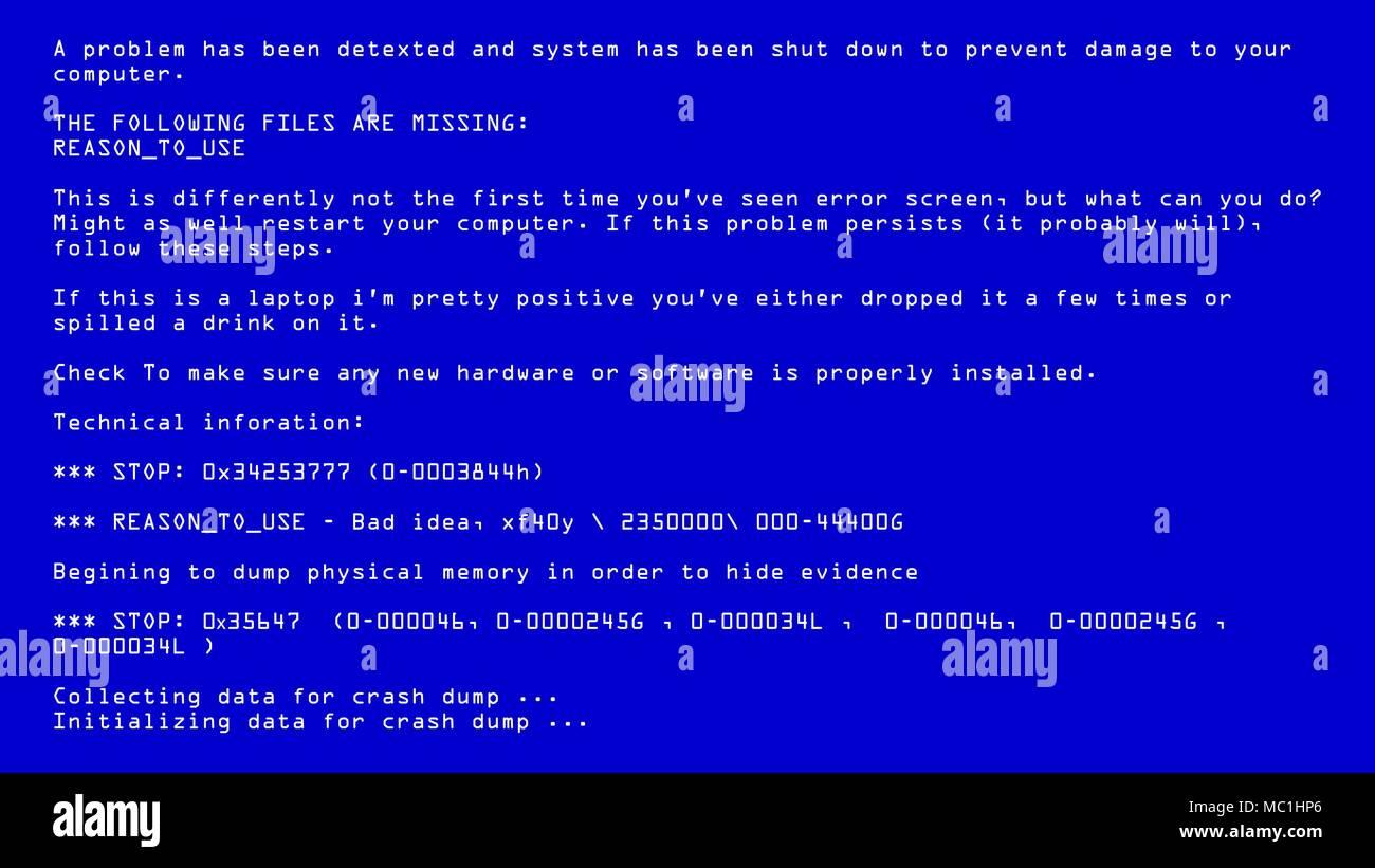 Blue Screen Of Death Vector. BSOD. Fatal Death Computer Error. System Crash Report. Illustration - Stock Image