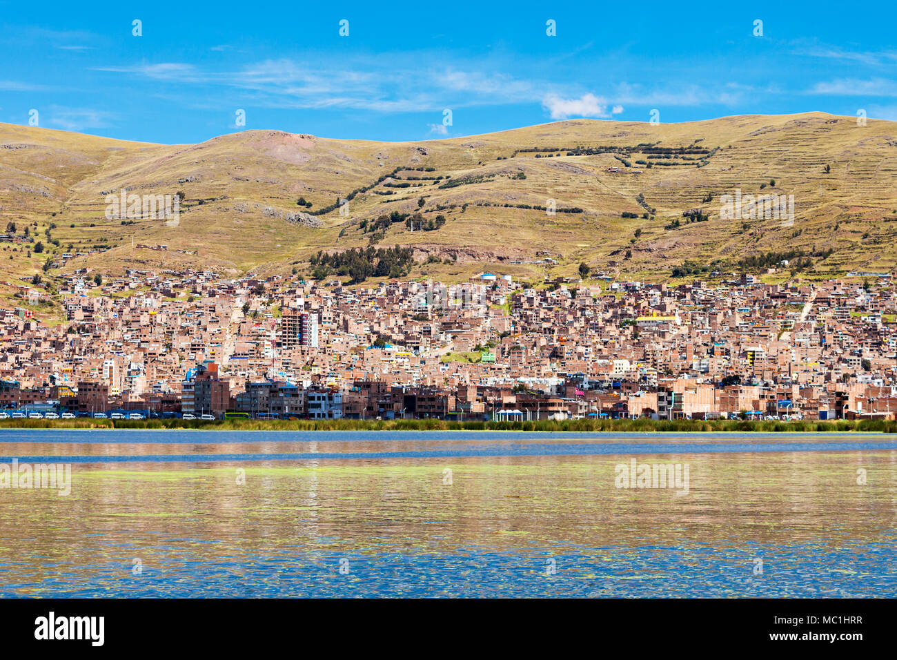 Puno panoramic view from Titicaca lake, Peru - Stock Image