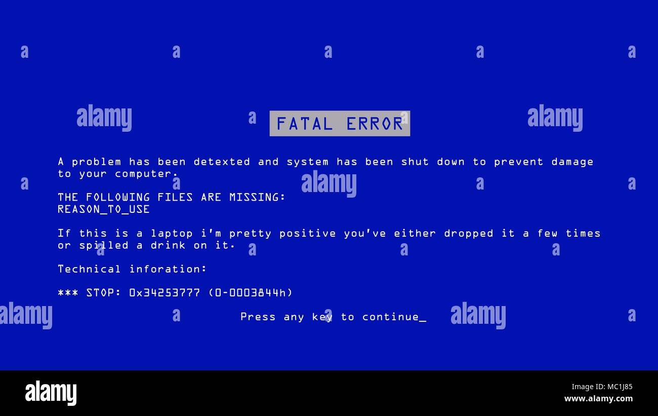 Blue Screen Of Death Vector. BSOD. Fatal Driver, Critical Memory Computer 404 Error. Incompatible Device. Illustration - Stock Image