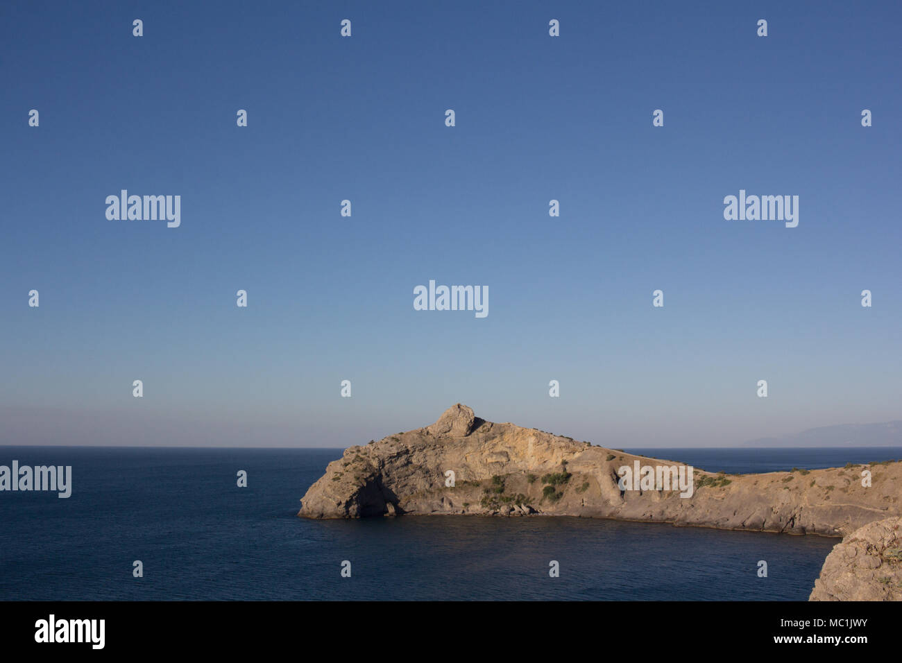 Stunning views of the sea on a calm clear day. Landscape. Stock Photo