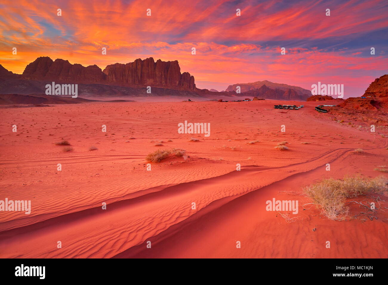 Wadi Rum Desert at sunset, Jordan - Stock Image