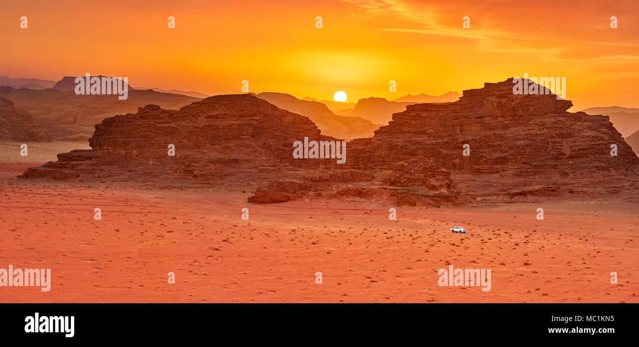 Wadi Rum Desert at sunset, Jordan - Stock Image