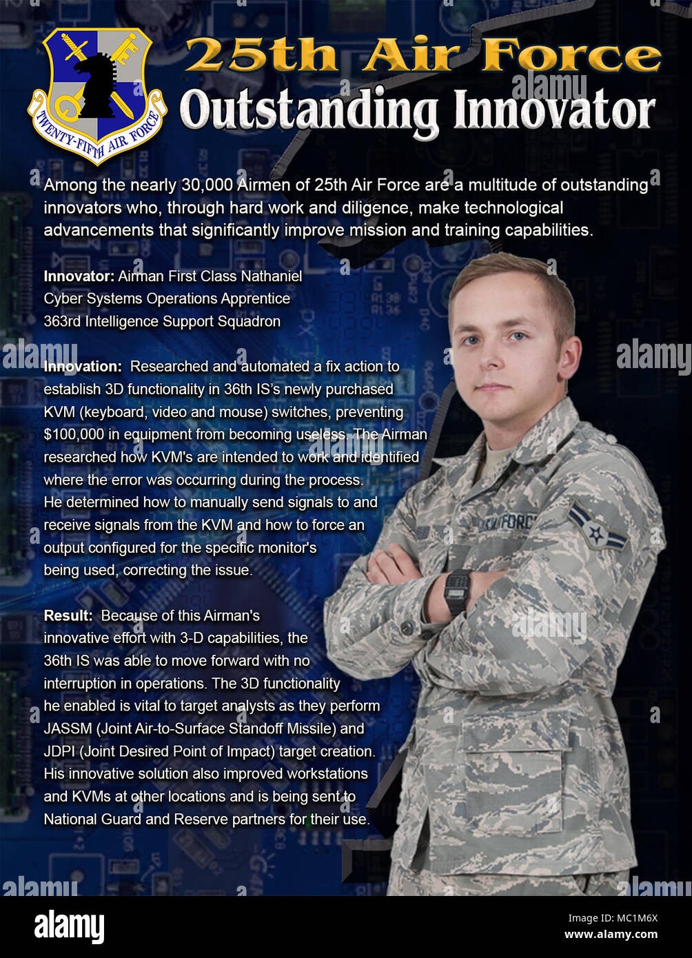When Airmen at the 363rd Intelligence Support Squadron discovered an issue with the three dimensional functionality on computer workstations vital to target analysts, one of their own highly-skilled Airmen found a solution and prevented $100,000 in equipment from becoming useless. Airman 1st Class Nathaniel, a cyber systems operations apprentice, researched and automated a fix action to establish 3D functionality in 36th IS's newly purchased KVM (Keyboard, Video and Mouse) switches. Stock Photo