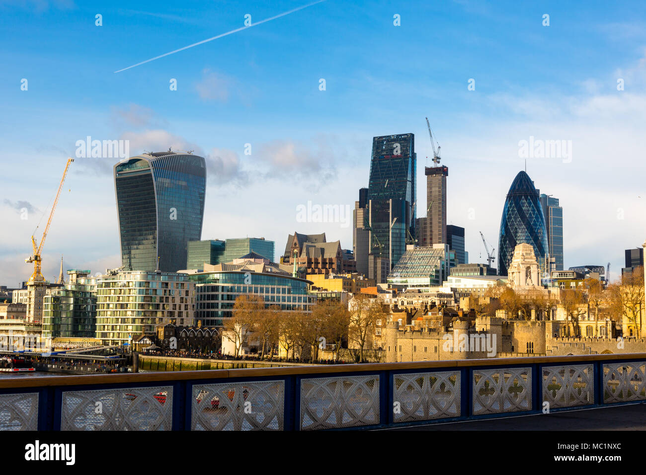 City of London, Financial Services Companies headquarters, The Leadenhall Building, The Gherkin view from south side over Tower Bridge and Tower Hill  - Stock Image