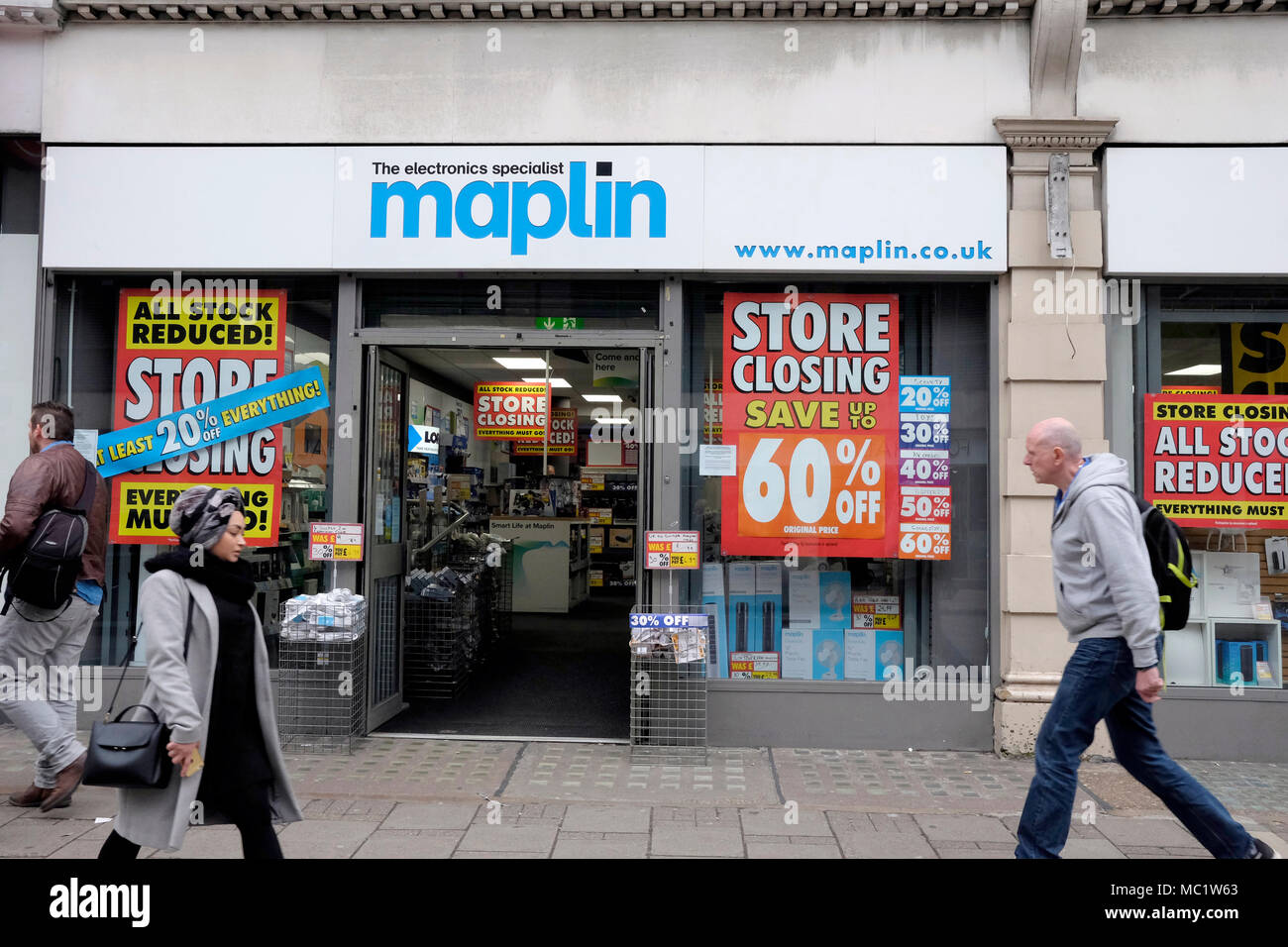A general view of Maplin shop on Tottenham Court Road, central London, UK - Stock Image