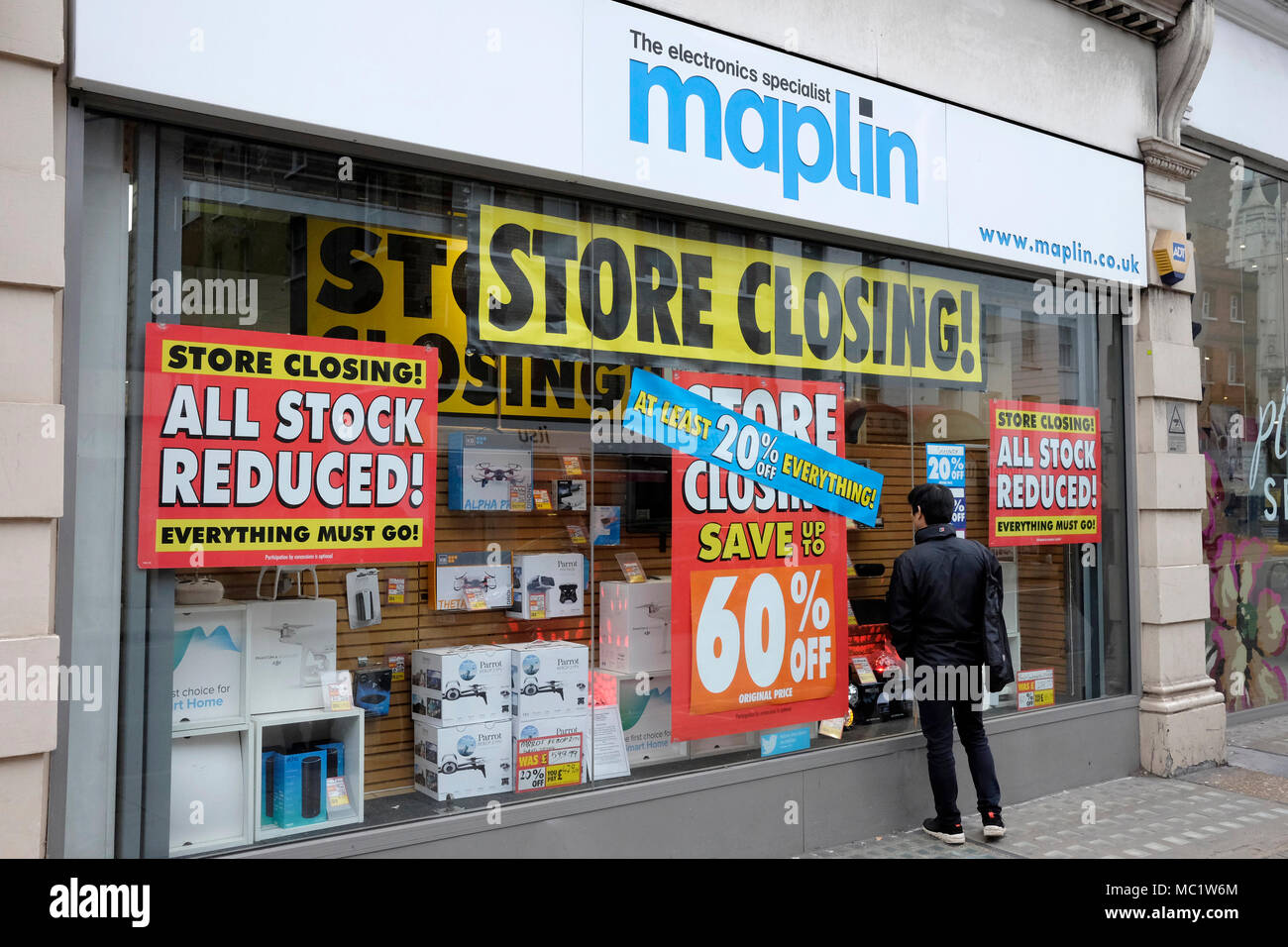 A close up view of Maplin shop on Tottenham Court road, central London - Stock Image