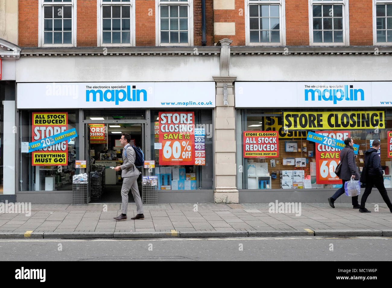 A general view of Maplin shop on Tottenham Court road, central London. - Stock Image