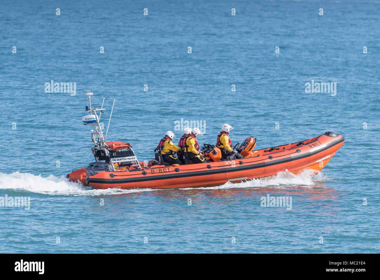 The Newquay RNLI B Class Atlantic 85 inshore craft participating in a GMICE (Good Medicine in Challenging Environments) major incident exercise. - Stock Image