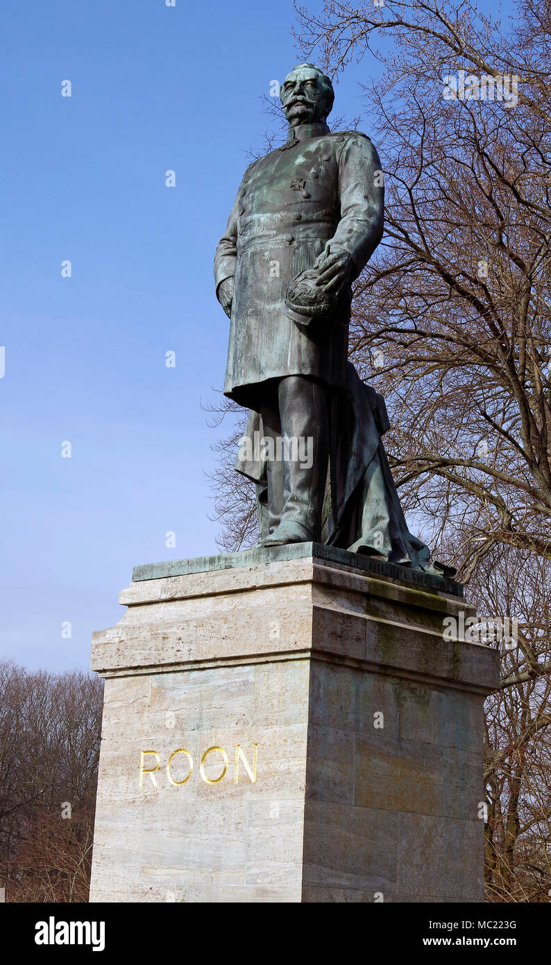 Bronze statue of Albrecht von Roon, Prussian soldier and statesman, in the Tiergarten Berlin. Chief of staff of Prussian army, - Stock Image