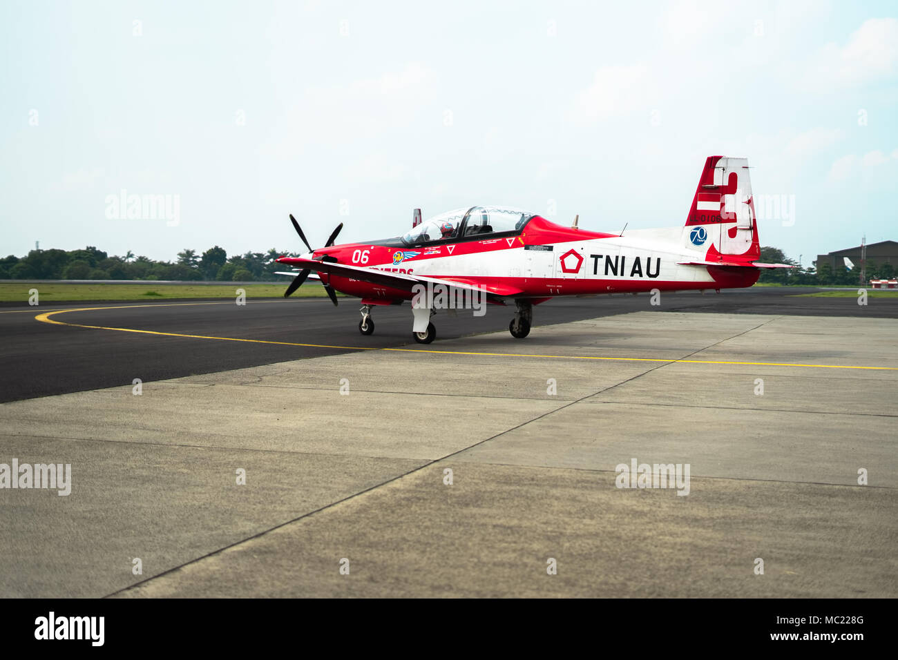 Jupiter  Aircraft Leaving Hangar Taxiway Before Take Off During Indonesia Air Force Ceremonial, Halim Perdana Kusuma Airport Stock Photo