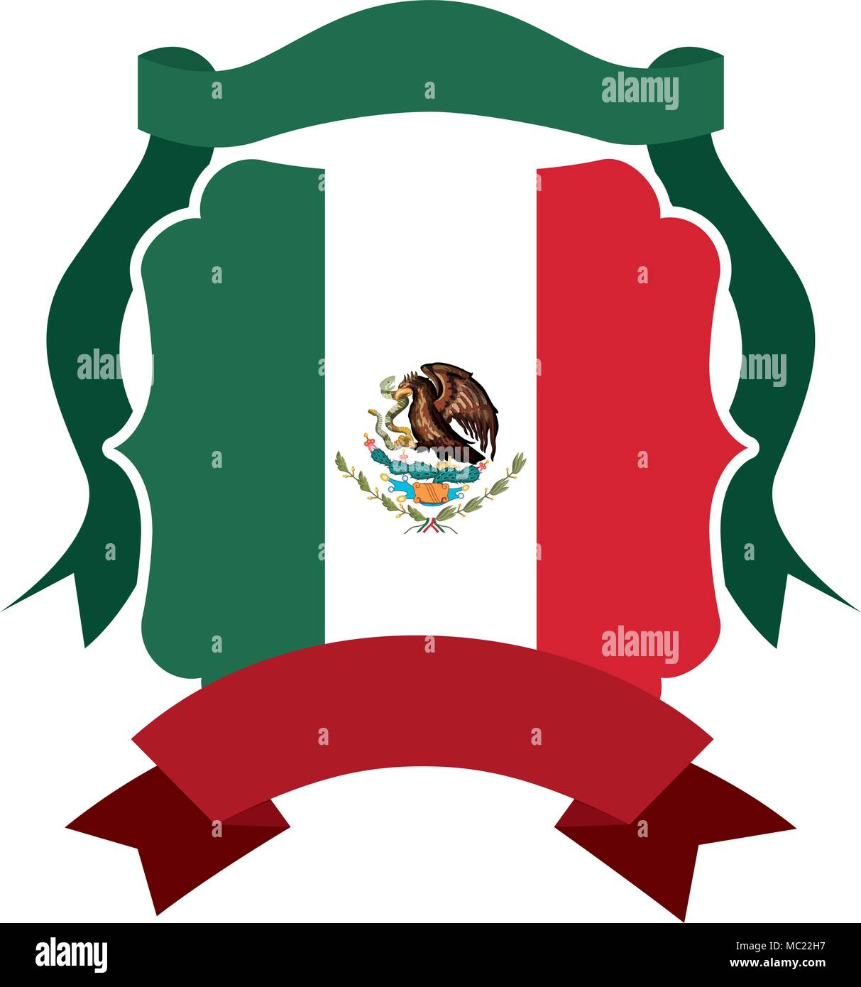 mexican emblem with flag and ribbon frame stock vector art rh alamy com