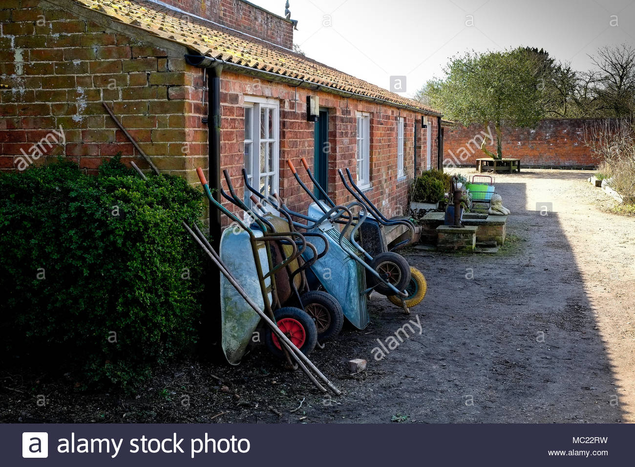 Gardeners wheelbarrows, Lincolnshire, UK. - Stock Image