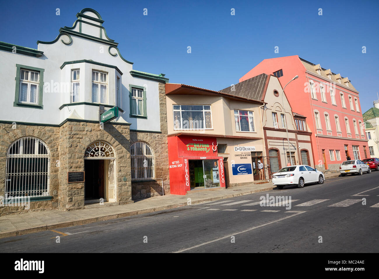 Biltong and Tobacco store on Bismarck Street in Luderitz, Namibia, Africa - Stock Image