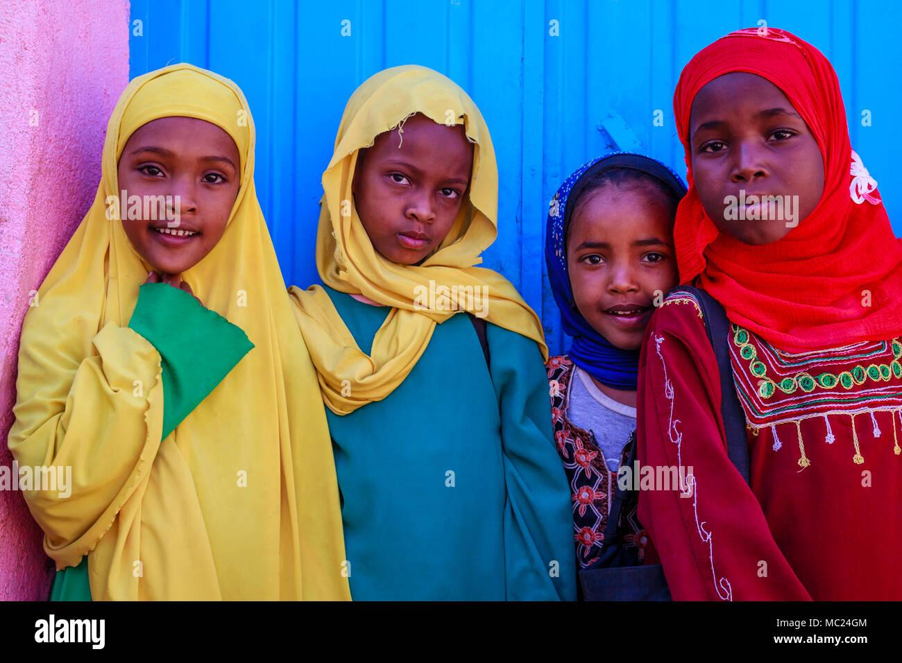 Ethiopian Schoolchildren, Harar, Ethiopia Stock Photo