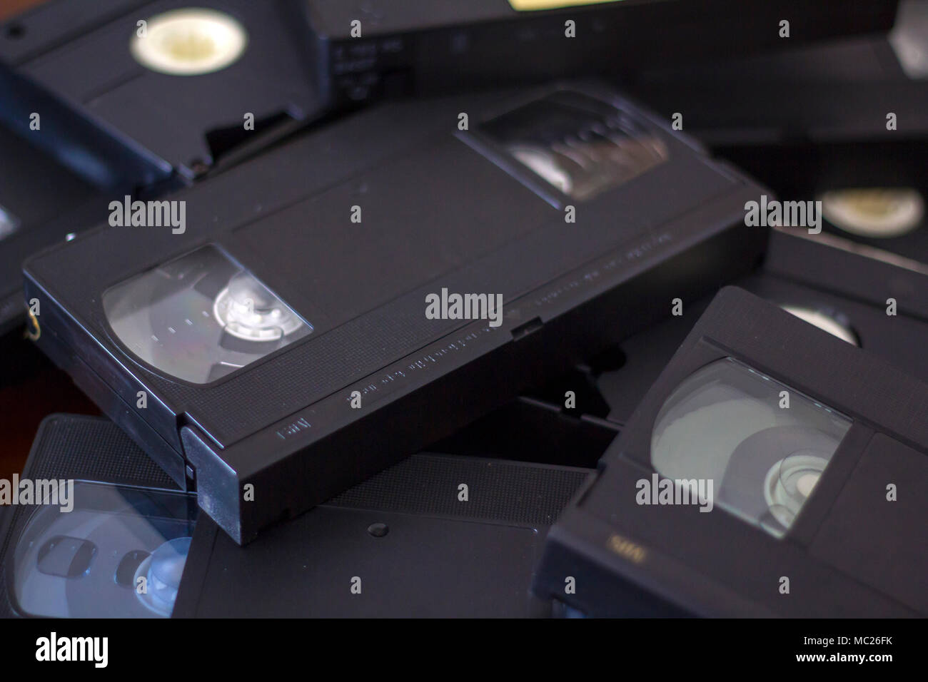 Stack of vhs cassette tapes - Stock Image