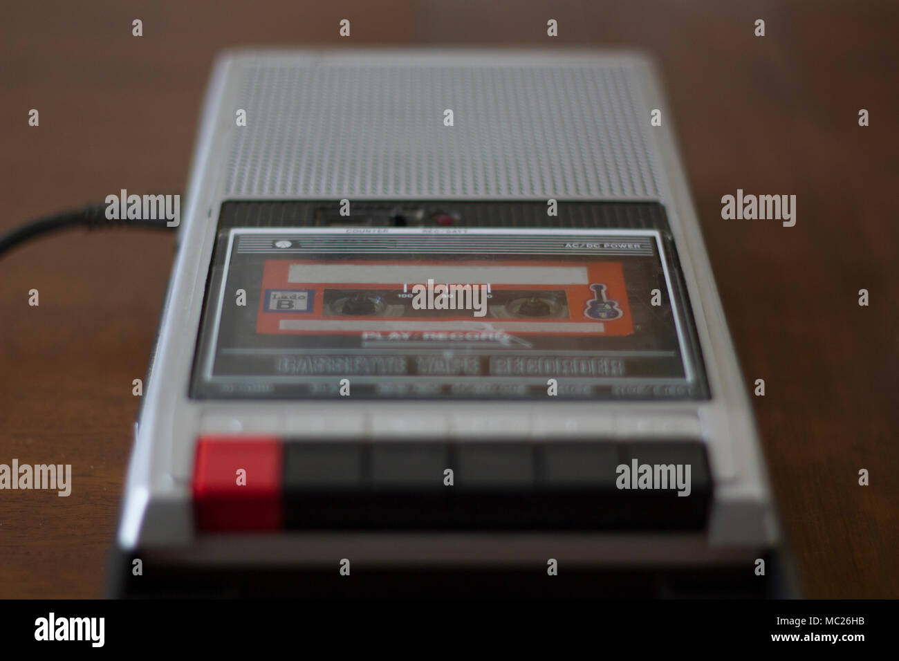 Vintage cassette tape player with audio cassette tape inside - Stock Image