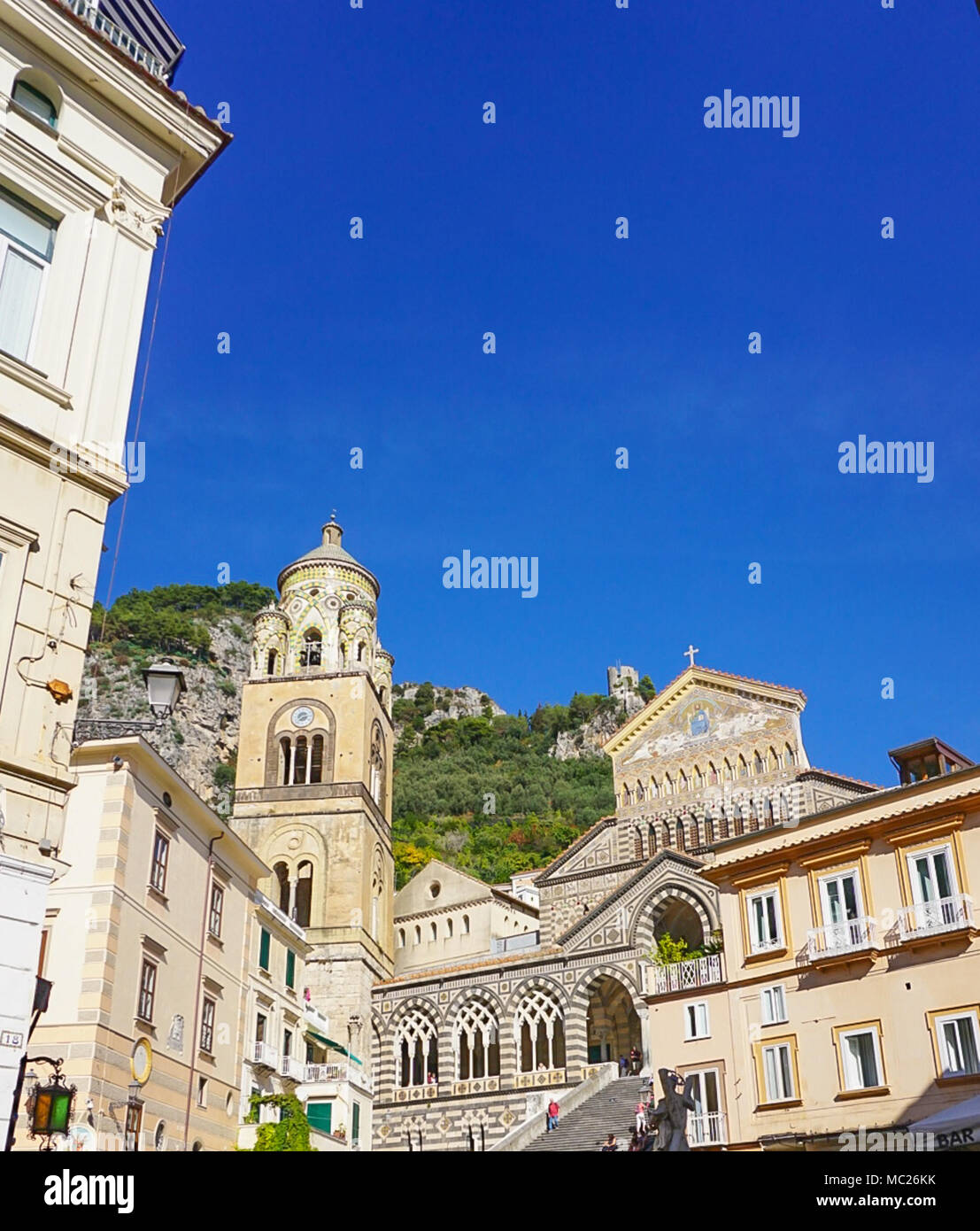 The Amalfi Cathedral dedicated to the Apostle Saint Andrew in the Piazza del Duomo in Amalfi Italy off the coast of Salerno Gulf on the Tyrrhenian Sea Stock Photo