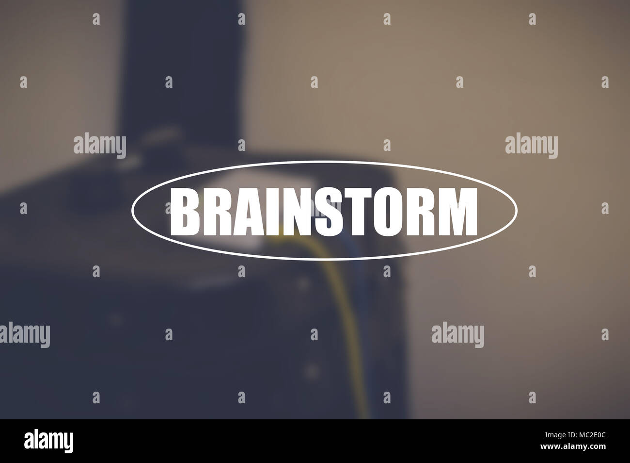 Brainstorm word with blurring background - Stock Image