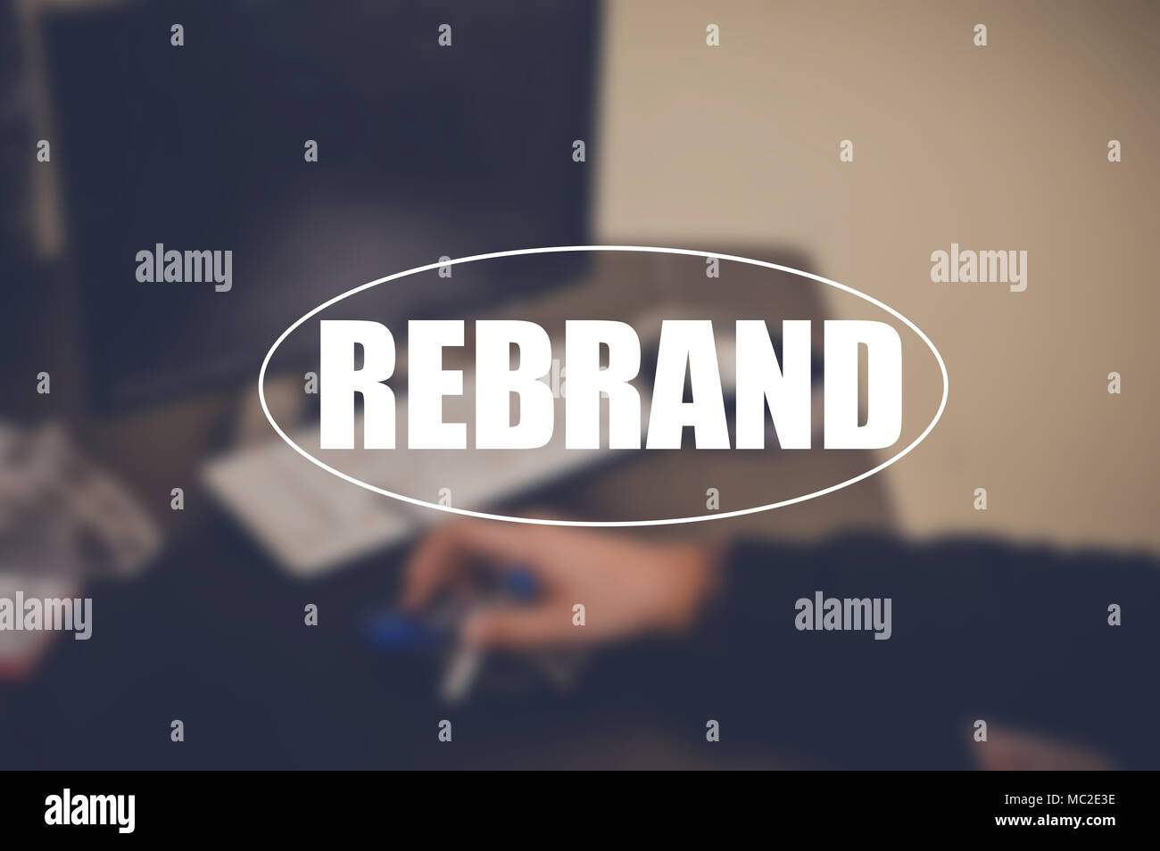 Rebrand word with blurring background - Stock Image