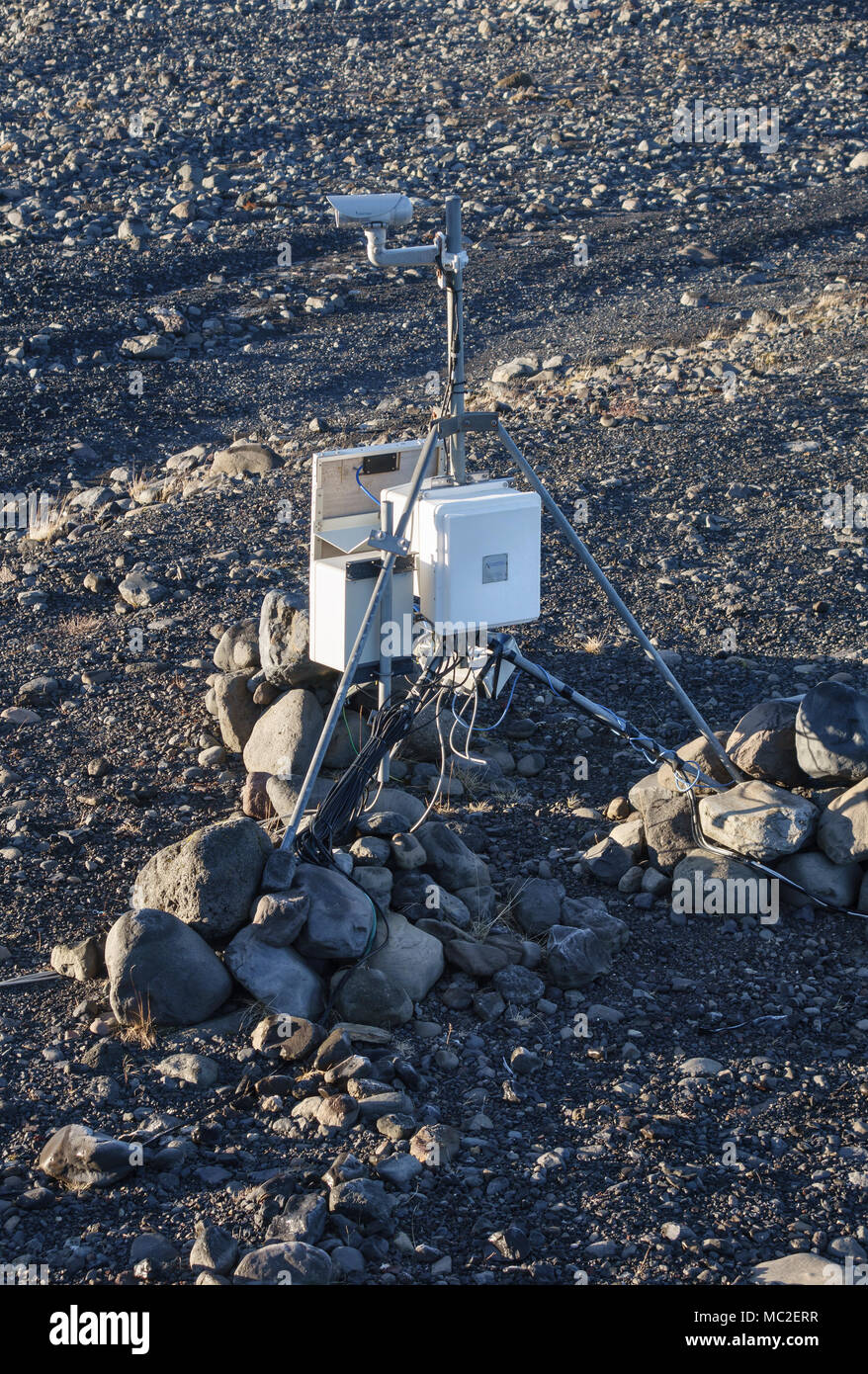 South Iceland. Geological monitoring equipment used to detect earth movements and give advance warning of earthquakes or volcanic eruptions - Stock Image