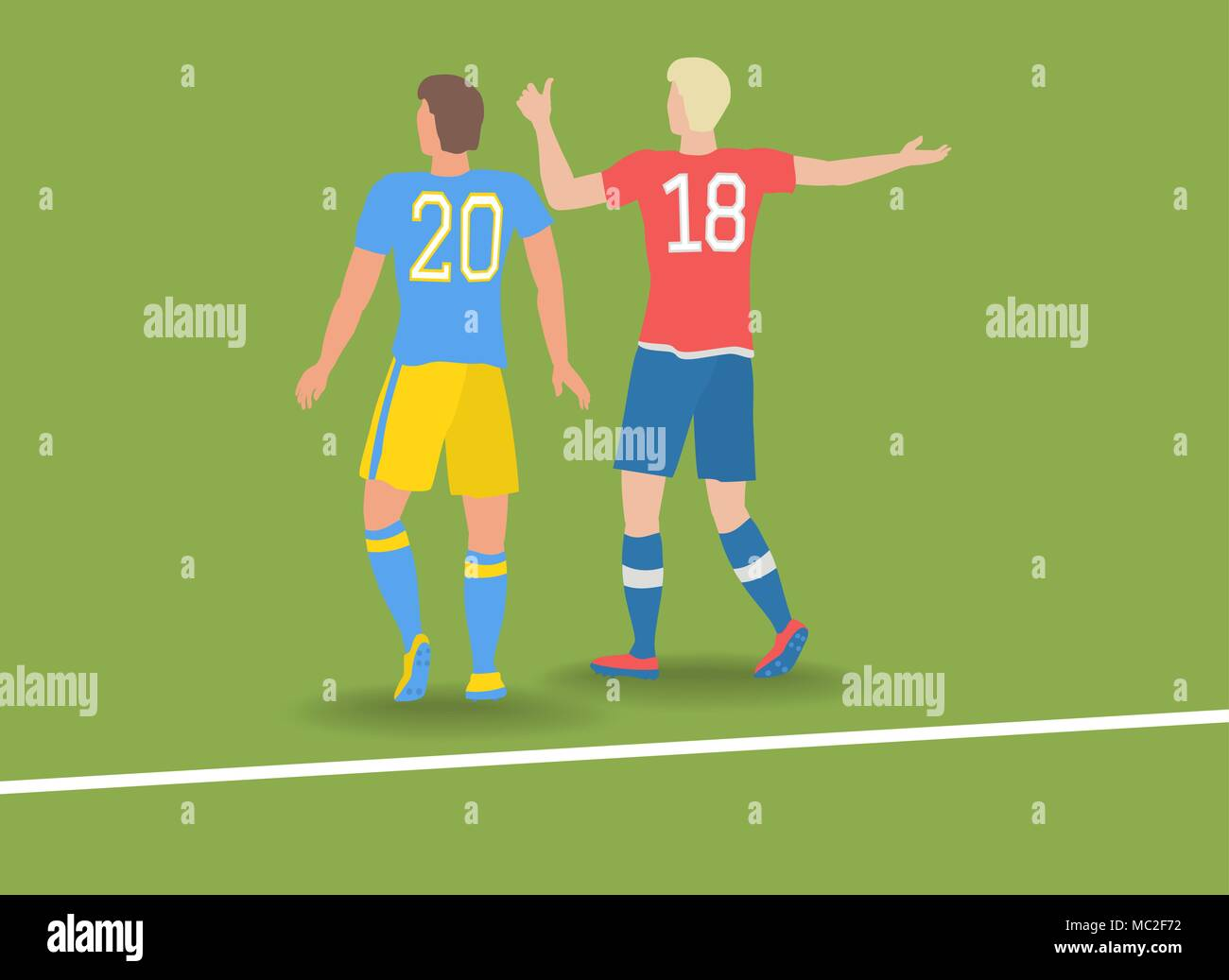 Two soccer players. - Stock Vector