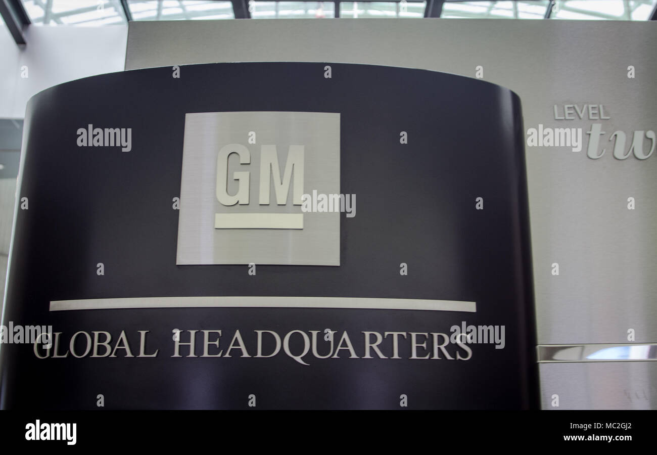 General Motors World Headquarters sign and logo at the Renaissance Center in downtown Detroit, Michigan. GM is one of the worlds largest employers. - Stock Image
