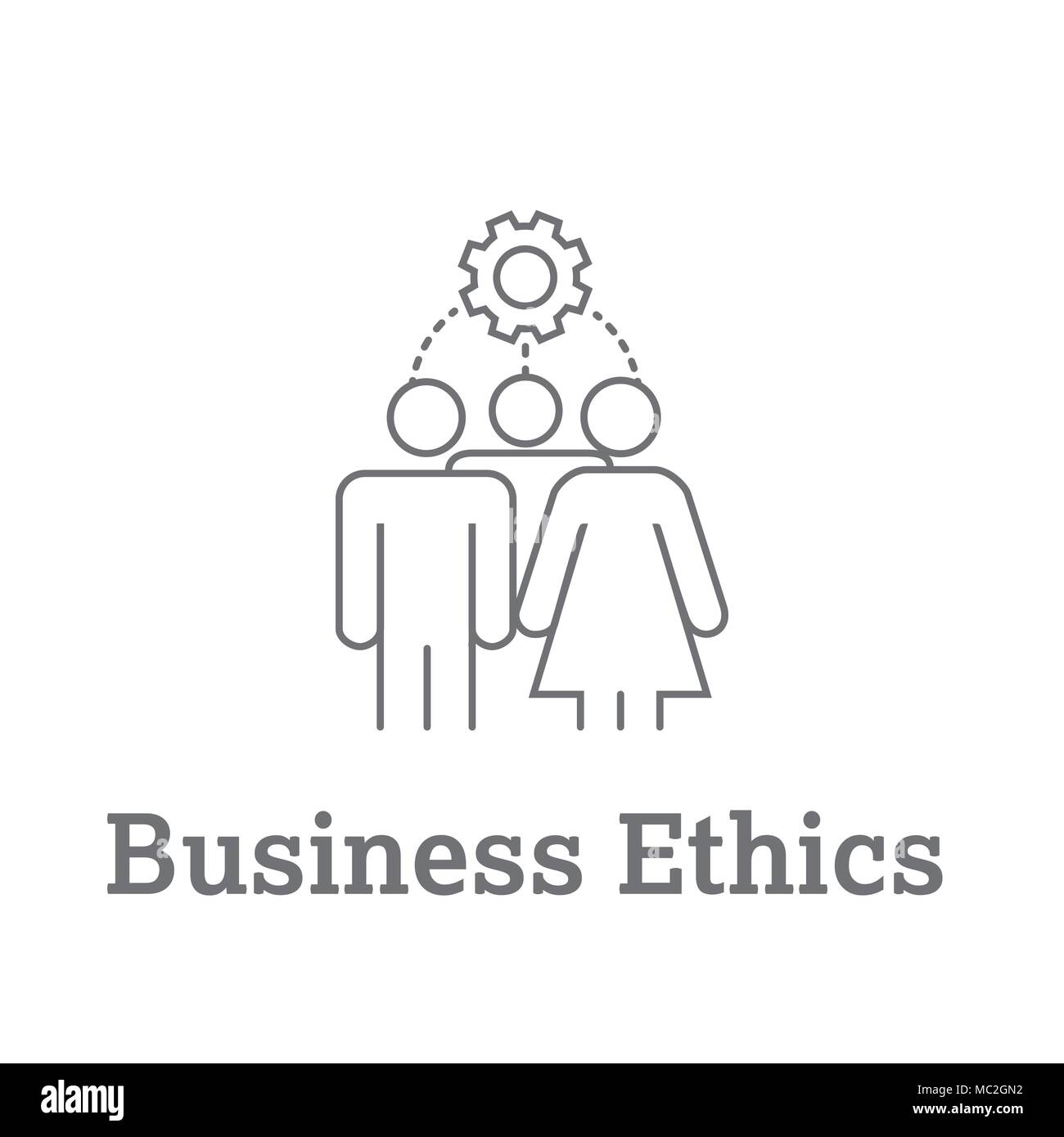Business Ethics Solid Icon with people sharing ideas. - Stock Image