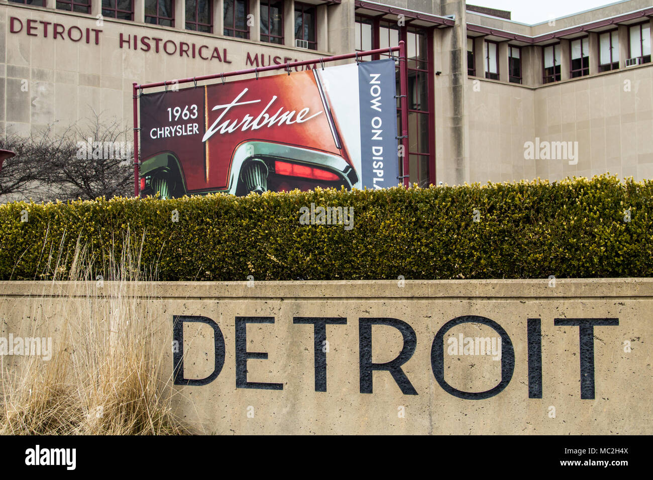 Exterior of the Detroit Historical Museum. The museum offers free admission year around and is considered one a must see while visiting Detroit. - Stock Image