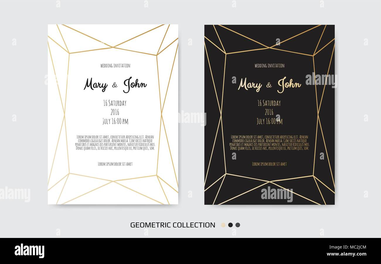 Wedding Invitation, invite card design with Geometrical art lines
