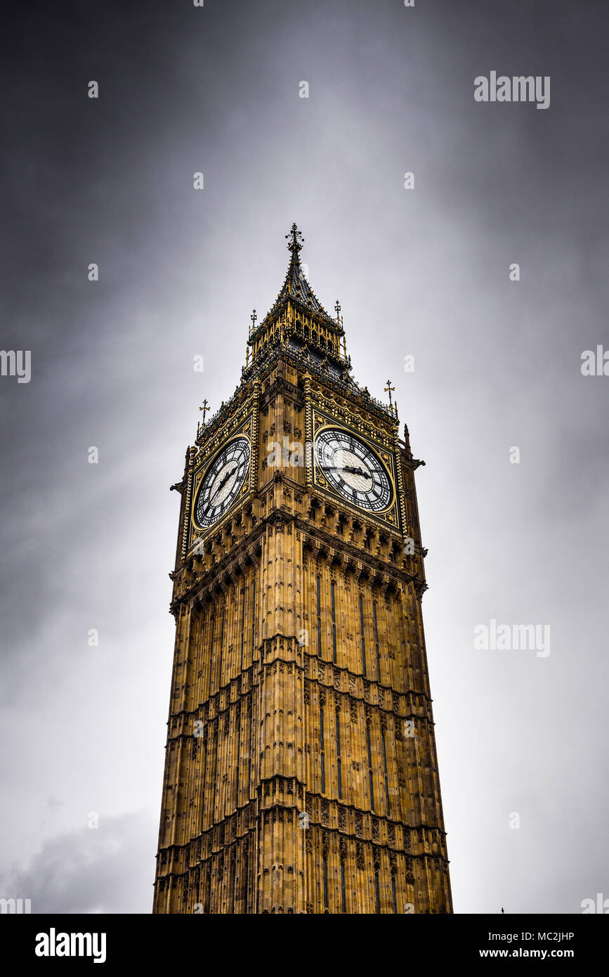 Elizabeth Tower containing Big Ben - Rain storm - Westminster, London, UK - Stock Image