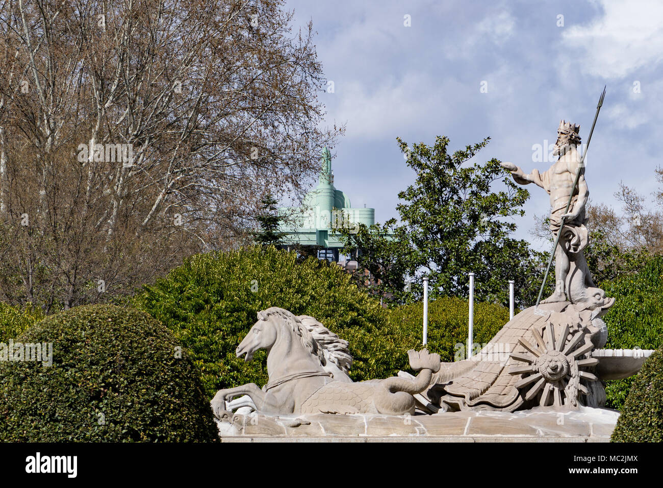 Fountain of Neptune, Roman God of the Sea, celebration point for supporters of Atletico Madrid football club, in Madrid, Spain - Stock Image