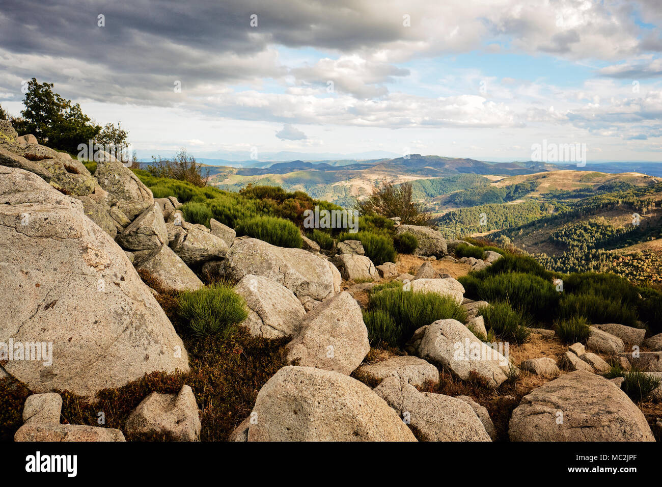 The rugged rocky rolling hill landscape of the Ardeche in south central France - Stock Image