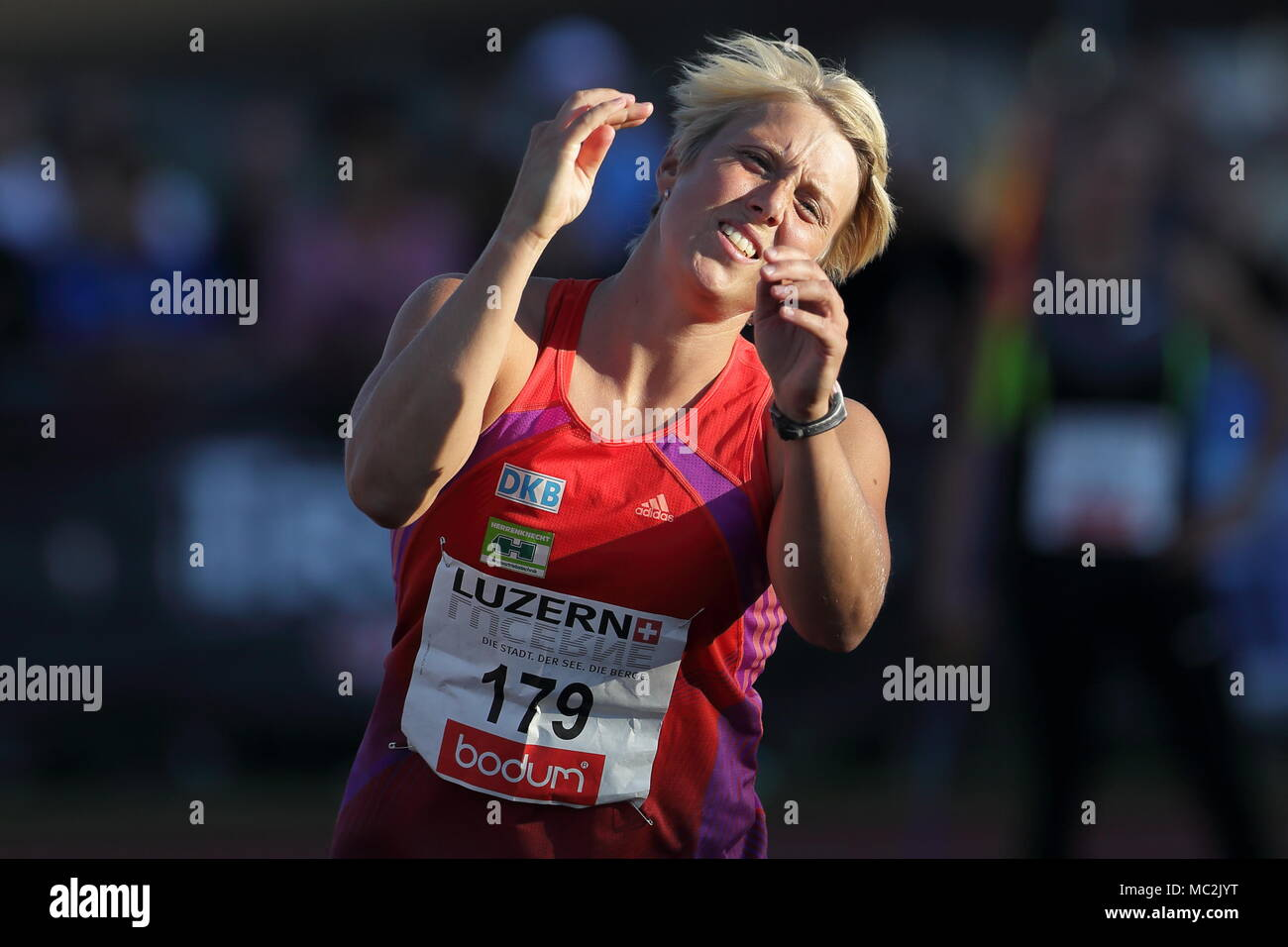 Lucerne, Switzerland. 17th, Jul 2012.  Christina Obergfoll of Germany reacts after throwing the javelin during the  Javelin Throw event of the Meeting - Stock Image