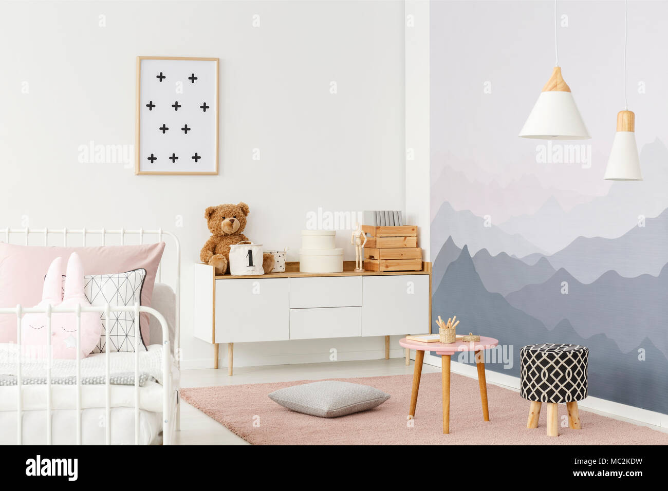 Exceptional White, Wooden Cupboard With A Teddy Bear, Boxes And Decor Standing In Bright  Room