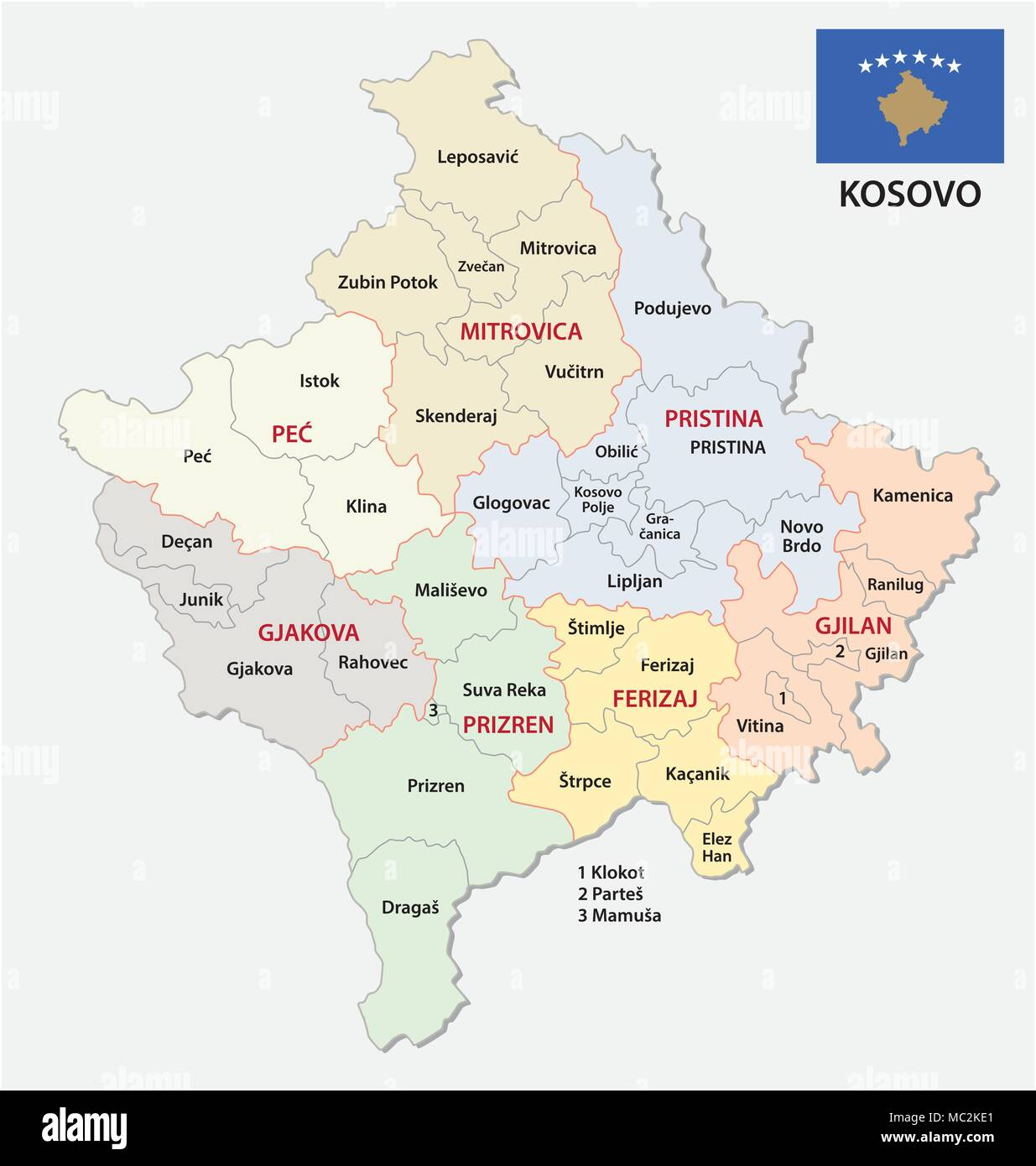 Kosovo Political Map kosovo administrative and political vector map with flag Stock