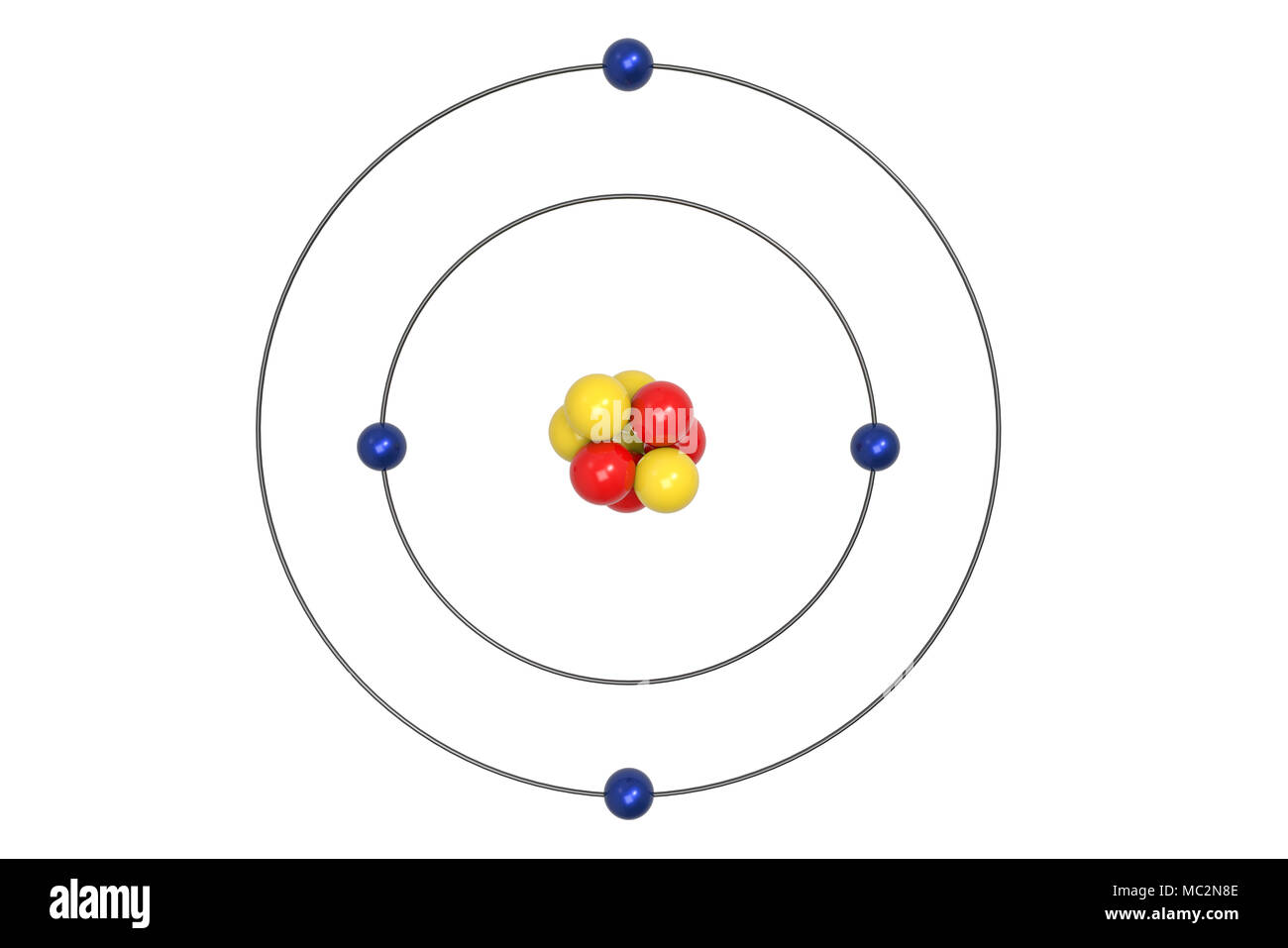 beryllium atom bohr model with proton, neutron and electron  3d  illustration - stock image