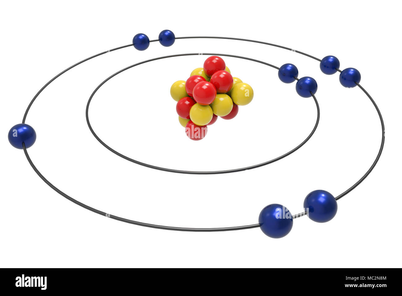 Bohr model of Fluorine Atom with proton, neutron and electron. Science and chemical concept 3d illustration - Stock Image