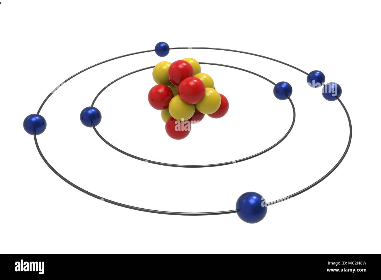 Bohr Model Of Nitrogen Atom With Proton  Neutron And