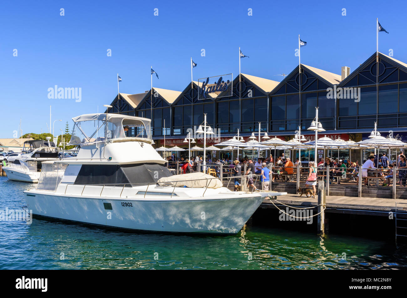 Kailis Bros seafood restaurant along the waterfront boardwalk at Fremantle Fishing Boat Harbour Fremantle, Western Australia, Australia - Stock Image