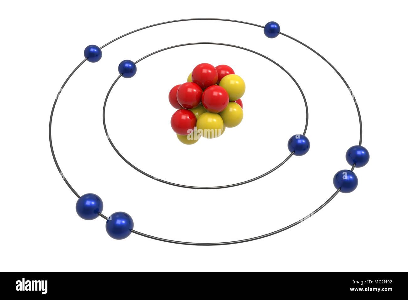 Bohr Model Of Oxygen Atom With Proton  Neutron And