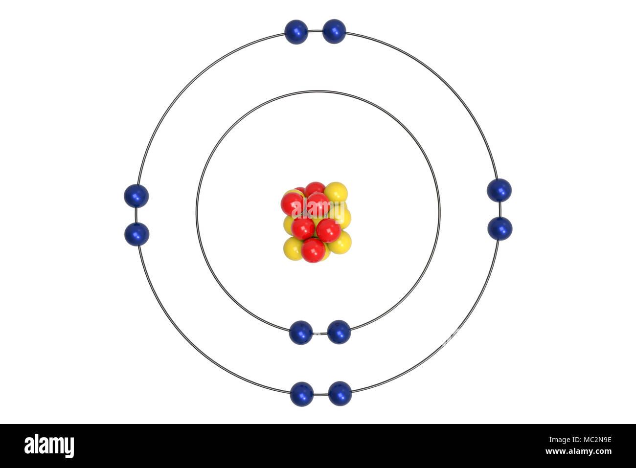 Neon Atom Bohr model with proton, neutron and electron. 3d ...Neon Diagram Of Atom